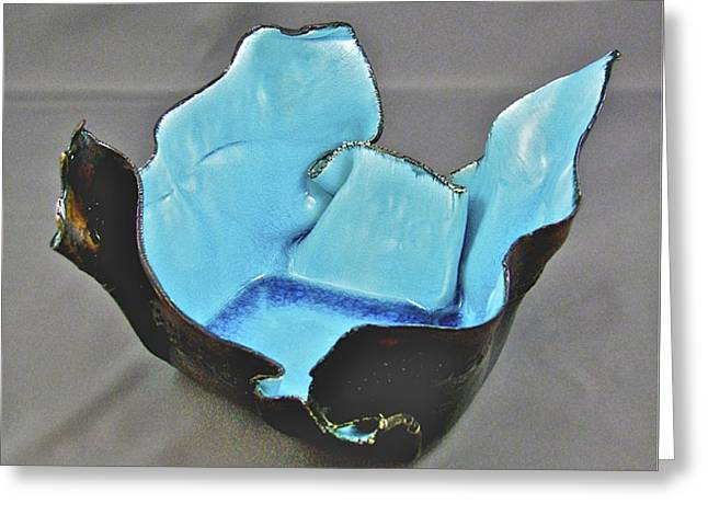Greeting Card featuring the sculpture Paper-thin Bowl  09-001 by Mario Perron