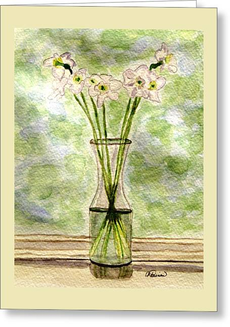 Greeting Card featuring the painting Paper Whites In Sunlight by Angela Davies