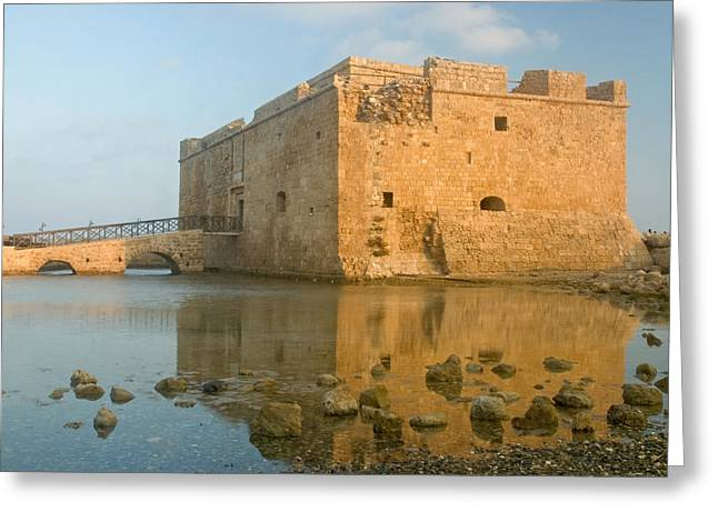 Paphos Harbour Castle Greeting Card by Jeremy Voisey