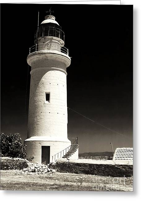 Paphos Lighthouse Greeting Card by John Rizzuto