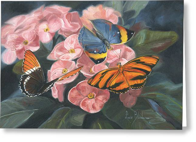 Papillons Greeting Card by Lucie Bilodeau