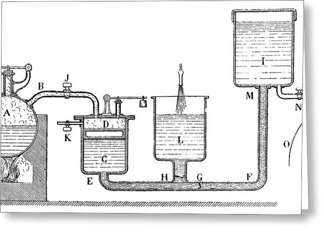 Papin Steam Engine Greeting Card by Science Photo Library