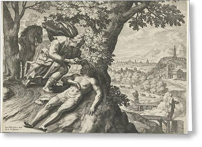 Parable Of The Good Samaritan, Johann Sadeler Greeting Card by Quint Lox