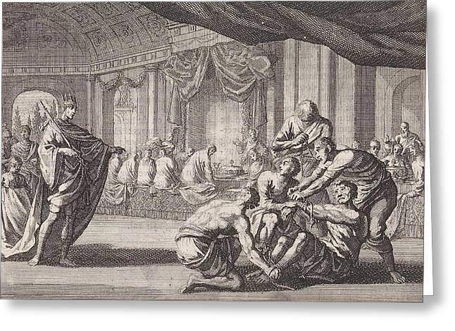 Parable Of The Royal Wedding, Print Maker Jan Luyken Greeting Card by Jan Luyken And Pieter Mortier