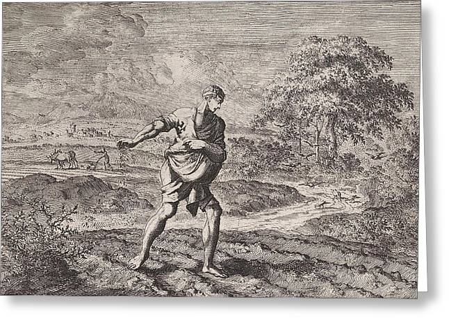 Parable Of The Sower And The Kingdom Of Heaven Greeting Card by Jan Luyken And Pieter Mortier