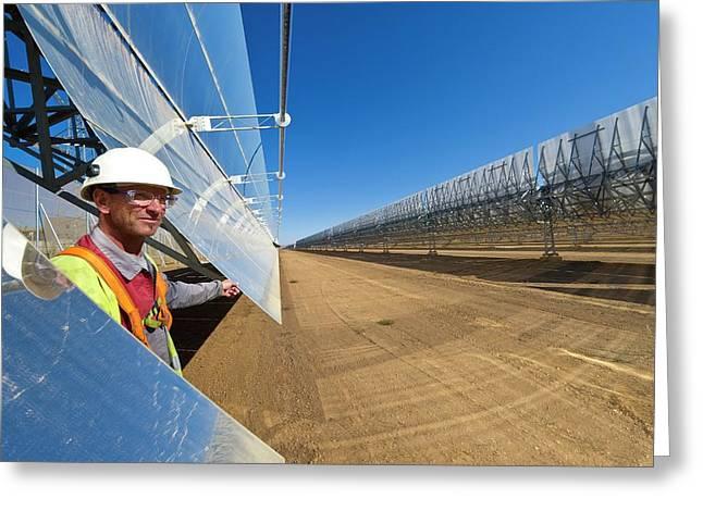 Parabolic Trough Solar Power Plant Greeting Card