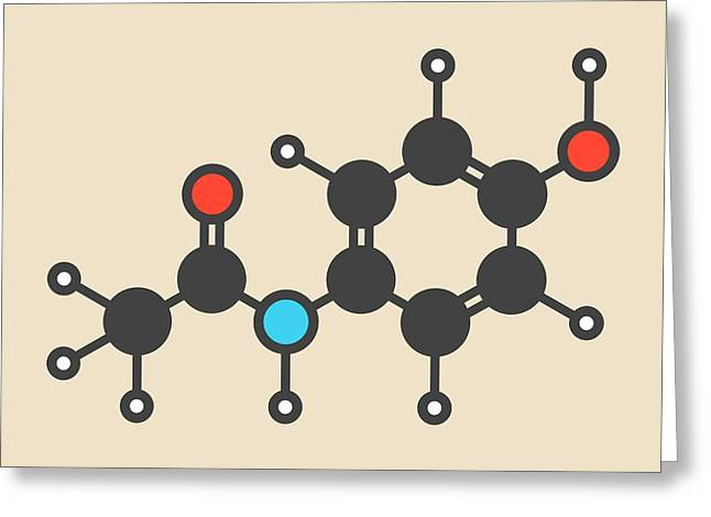 Paracetamol Molecule Greeting Card by Molekuul
