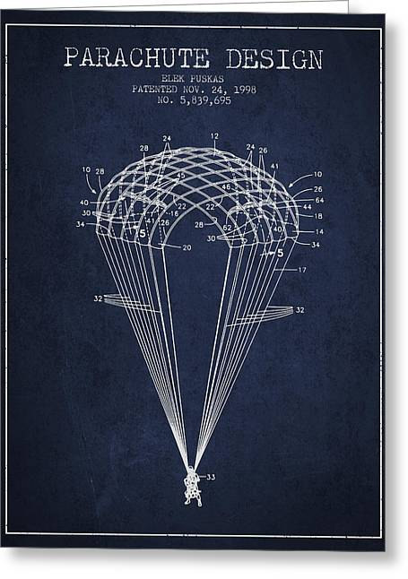 Parachute Design Patent From 1998 - Navy Blue Greeting Card