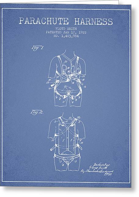 Parachute Harness Patent From 1922 - Light Blue Greeting Card