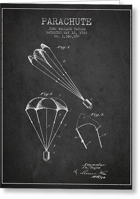 Parachute Patent From 1920 - Charcoal Greeting Card by Aged Pixel