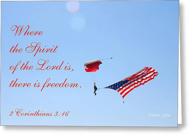 Parachuting With Old Glory Greeting Card by Connie Fox