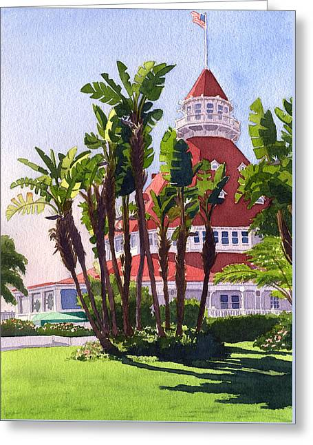 Paradise At The Hotel Del Coronado Greeting Card by Mary Helmreich