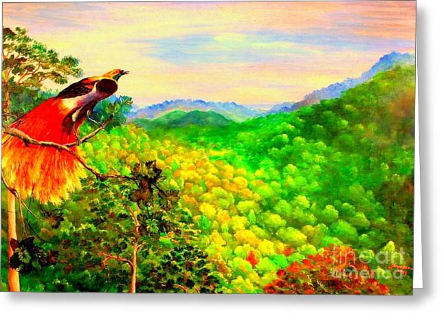 Greeting Card featuring the painting Paradise Bird Of Papua by Jason Sentuf