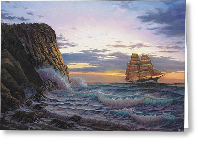 Paradise Cove And The Lightning  Greeting Card by Del Malonee