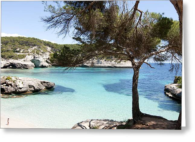 Paradise In Minorca Is Called Cala Mitjana Beach Where Sand Is Almost White And Sea Is A Deep Blue  Greeting Card