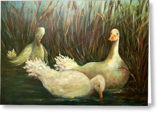 Paradise Pond,ducks  Greeting Card