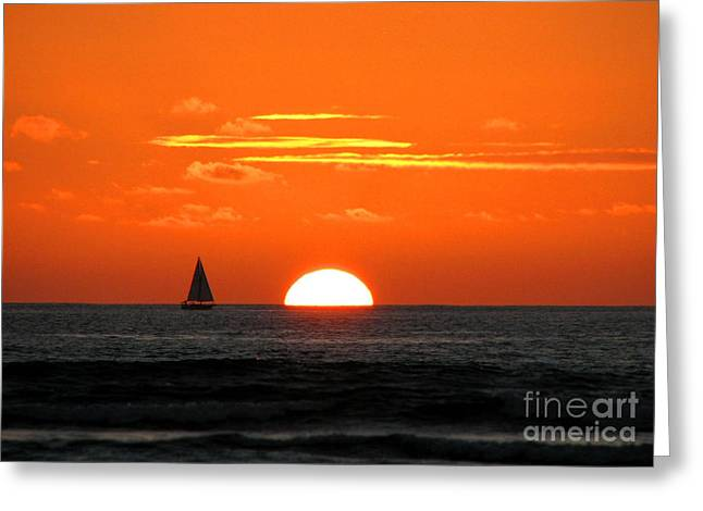 Paradise Sunset Sail Greeting Card