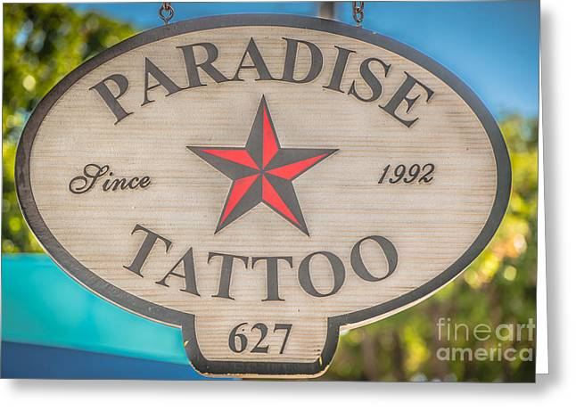 Paradise Tattoo Key West - Hdr Style Greeting Card by Ian Monk