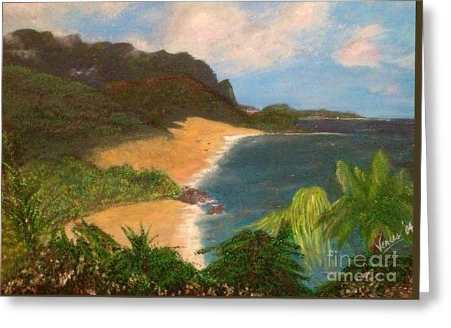 Greeting Card featuring the painting Paradise by Vanessa Palomino