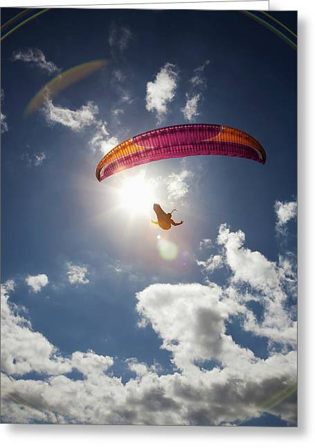 Paraglider At Makapuu Point  Oahu Greeting Card by Kelly Fitzgerald