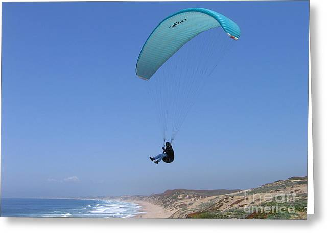 Paraglider Over Sand City Greeting Card