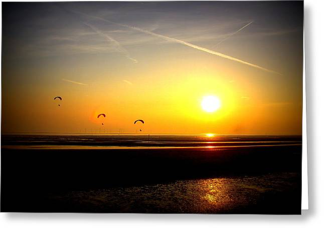 Paragliders At Sunset Greeting Card