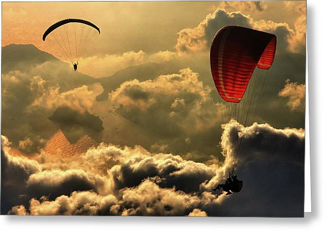 Paragliding 2 Greeting Card by Yavuz Sariyildiz