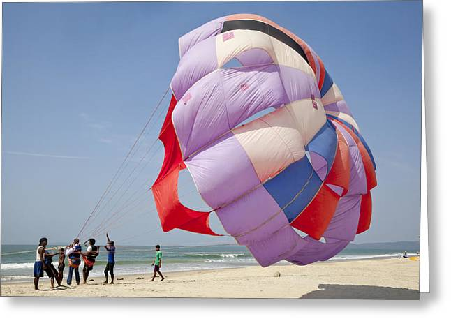 Paragliding A Beach Sport Greeting Card by Kantilal Patel