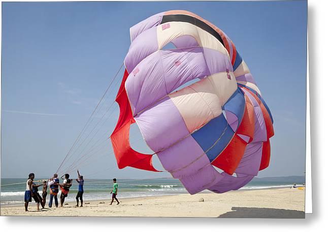 Paragliding A Beach Sport Greeting Card