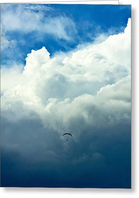 Paragliding In Changing Weather Greeting Card by Viacheslav Savitskiy