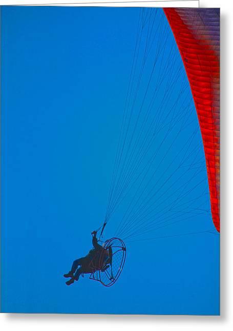 Paragliding Greeting Card by Karol Livote