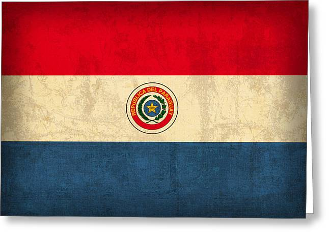 Paraguay Flag Vintage Distressed Finish Greeting Card by Design Turnpike