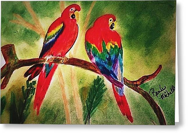 Parakeets In Paradise Greeting Card by Renee Michelle Wenker