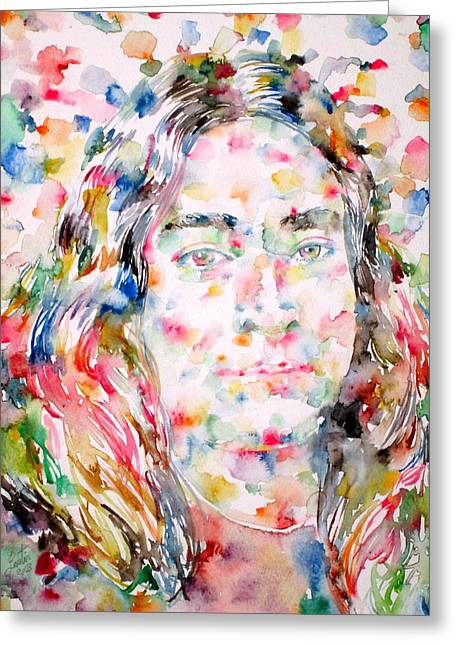Paramahansa Yogananda Watercolor Portrait Greeting Card by Fabrizio Cassetta