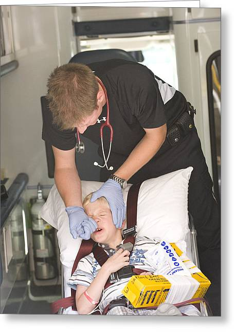 Paramedic Administering Fentanyl To Boy Greeting Card by Kevin Link