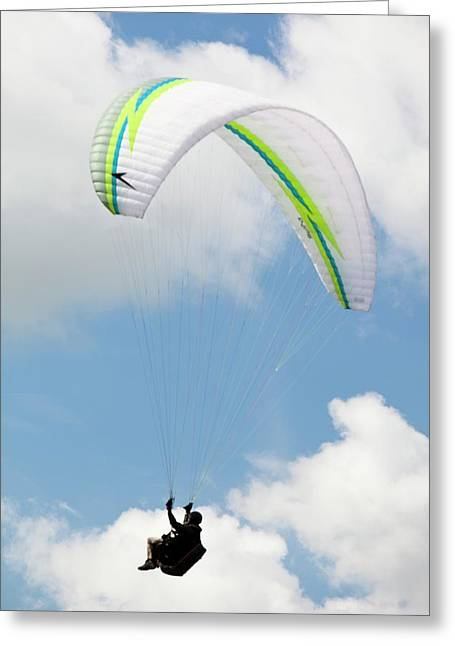 Paraponters Flying From Pendle Hill Greeting Card by Ashley Cooper