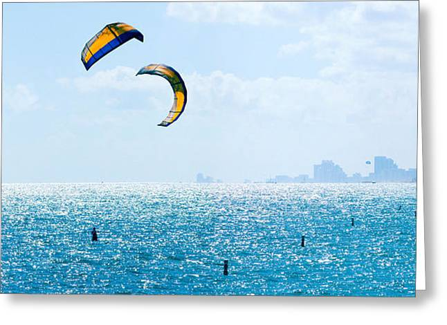 Parasailing Over The Atlantic Ocean Greeting Card by Panoramic Images