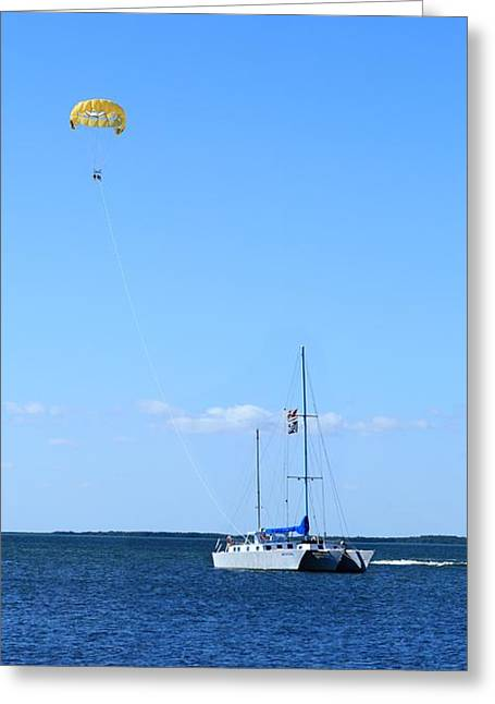 Greeting Card featuring the photograph Parasailing by R B Harper