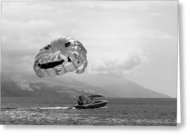 Parasailing With Smiley Face - In Black And White Greeting Card by Colin Utz