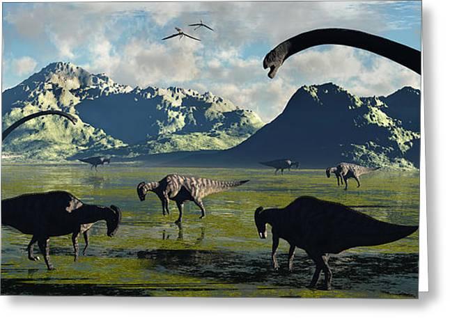Parasaurolophus And Sauropod Dinosaurs Greeting Card