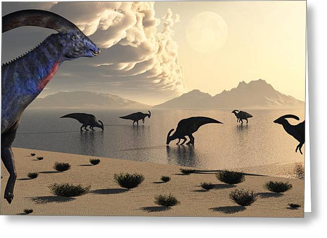 Parasaurolophus Dinosaurs Gather Greeting Card by Mark Stevenson