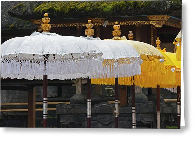 Parasol At Mother Temple Of Besakih Greeting Card