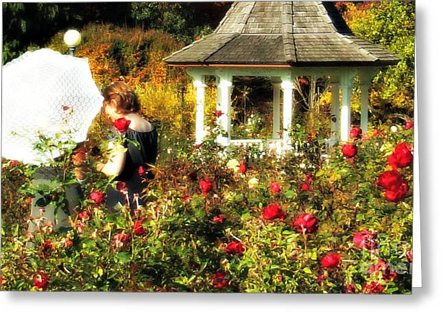 Parasol In Rose Garden Greeting Card