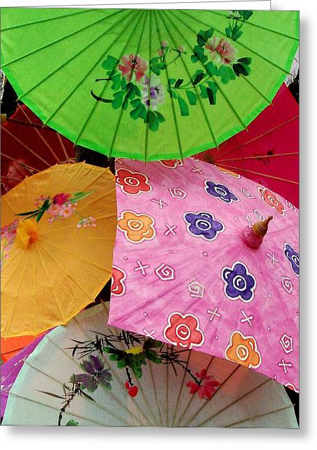 Parasols 2 Greeting Card by Rodney Lee Williams