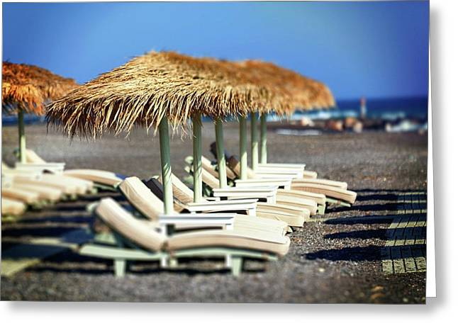 Parasols And Sunloungers Greeting Card by Wladimir Bulgar