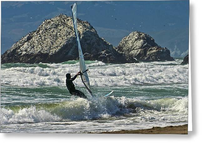 Parasufing At Ocean Beach 2 Greeting Card by SC Heffner