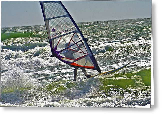 Parasufing At Ocean Beach Greeting Card by SC Heffner