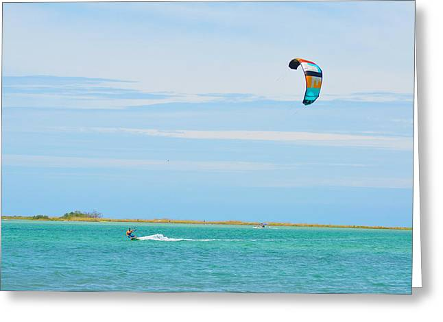 Parasurfing Greeting Card by Bill Cannon