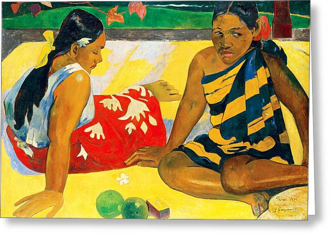 Parau Api. What News Greeting Card by Paul Gauguin