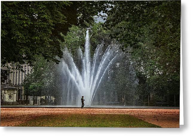Parc De Bruxelles Fountain Greeting Card by Joan Carroll